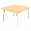 "30"" Square T-Mold Activity Table, Maple/Maple/Red/Standard Swivel"