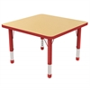 "30"" Square T-Mold Activity Table, Maple/Red/Chunky"