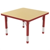 "ECR4Kids 30"" Square Table Maple/Red -Chunky"