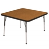 "ECR4Kids 30"" Square Table Oak/Black-Standard Ball"