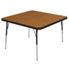 "30"" Square T-Mold Activity Table, Oak/Black/Standard Swivel"