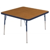 "30"" Square T-Mold Activity Table, Oak/Navy/Toddler Swivel"