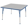 "48"" Square T-Mold Activity Table, Grey/Blue/Standard Ball"