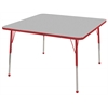 "48"" Square T-Mold Activity Table, Grey/Red/Toddler Ball"