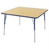 "ECR4Kids 48"" Square Table Maple/Blue -Standard Swivel"