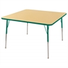 "48"" Square T-Mold Activity Table, Maple/Green/Standard Swivel"