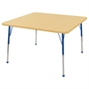 "48"" Square T-Mold Activity Table, Maple/Maple/Blue/Standard Ball"