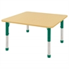 "48"" Square T-Mold Activity Table, Maple/Maple/Green/Chunky"