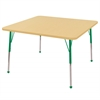 "48"" Square T-Mold Activity Table, Maple/Maple/Green/Standard Ball"