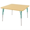 "48"" Square T-Mold Activity Table, Maple/Maple/Green/Standard Swivel"