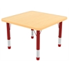 "48"" Square T-Mold Activity Table, Maple/Maple/Red/Chunky"