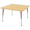 "48"" Square T-Mold Activity Table, Maple/Maple/Red/Standard Ball"