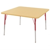 "48"" Square T-Mold Activity Table, Maple/Maple/Red/Standard Swivel"