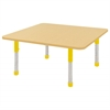"48"" Square T-Mold Activity Table, Maple/Maple/Yellow/Chunky"