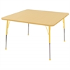 "48"" Square T-Mold Activity Table, Maple/Maple/Yellow/Standard Ball"