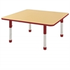 "48"" Square T-Mold Activity Table, Maple/Red/Chunky"