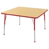 "48"" Square T-Mold Activity Table, Maple/Red/Standard Ball"