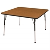 "ECR4Kids 48"" Square Table Oak/Black-Standard Ball"
