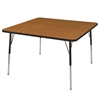 "48"" Square T-Mold Activity Table, Oak/Black/Standard Swivel"