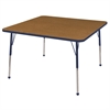 "ECR4Kids 48"" Square Table Oak/Navy-Standard Ball"