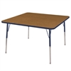 "48"" Square T-Mold Activity Table, Oak/Navy/Toddler Swivel"