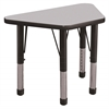 "18""x30"" Trapezoid T-Mold Activity Table, Grey/Black/Chunky"