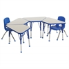 "18""x30"" Trapezoid T-Mold Activity Table, Grey/Blue/Standard Ball"