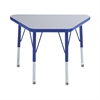 "18""x30"" Trapezoid T-Mold Activity Table, Grey/Blue/Standard Swivel"