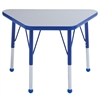 "18""x30"" Trapezoid T-Mold Activity Table, Grey/Blue/Toddler Ball"