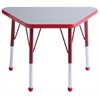 "18""x30"" Trapezoid T-Mold Activity Table, Grey/Red/Toddler Ball"
