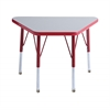 "18""x30"" Trapezoid T-Mold Activity Table, Grey/Red/Toddler Swivel"