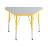 "18""x30"" Trapezoid T-Mold Activity Table, Grey/Yellow/Standard Swivel"