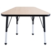 "18""x30"" Trapezoid T-Mold Activity Table, Maple/Black/Standard Ball"