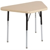"18""x30"" Trapezoid T-Mold Activity Table, Maple/Maple/Black/Standard Swivel"