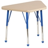 "18""x30"" Trapezoid T-Mold Activity Table, Maple/Maple/Blue/Toddler Ball"
