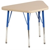 "18""x30"" Trapezoid T-Mold Activity Table, Maple/Maple/Blue/Toddler Swivel"