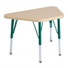 "18""x30"" Trapezoid T-Mold Activity Table, Maple/Maple/Green/Toddler Swivel"