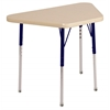 "18""x30"" Trapezoid T-Mold Activity Table, Maple/Maple/Navy/Standard Swivel"