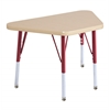 "18""x30"" Trapezoid T-Mold Activity Table, Maple/Maple/Red/Standard Swivel"