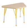 "18""x30"" Trapezoid T-Mold Activity Table, Maple/Maple/Yellow/Standard Ball"
