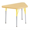 "18""x30"" Trapezoid T-Mold Activity Table, Maple/Maple/Yellow/Standard Swivel"