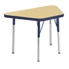 "18""x30"" Trapezoid T-Mold Activity Table, Maple/Navy/Standard Swivel"