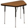 "18""x30"" Trapezoid T-Mold Activity Table, Oak/Black/Standard Swivel"