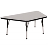 "30""x60"" Trapezoid T-Mold Activity Table, Grey/Black/Toddler Ball"