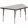 "30""x60"" Trapezoid T-Mold Activity Table, Grey/Black/Toddler Swivel"
