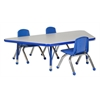 "30""x60"" Trapezoid T-Mold Activity Table, Grey/Blue/Toddler Ball"