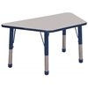 "30""x60"" Trapezoid T-Mold Activity Table, Grey/Navy/Chunky"