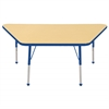 "30""x60"" Trapezoid T-Mold Activity Table, Maple/Blue/Standard Ball"