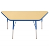 "30""x60"" Trapezoid T-Mold Activity Table, Maple/Blue/Standard Swivel"