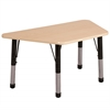"30""x60"" Trapezoid T-Mold Activity Table, Maple/Maple/Black/Chunky"